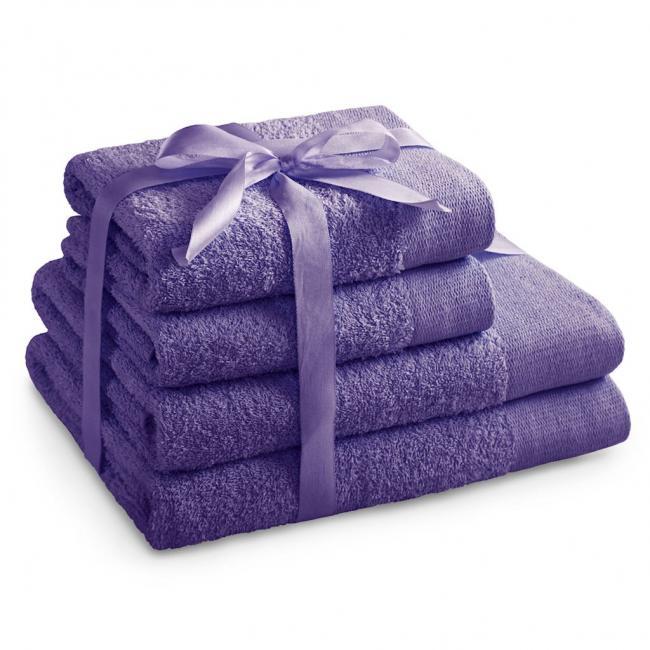 AmeliaHome - ręcznik 100% bawełny - zestaw 4 sztuk -  fioletowy