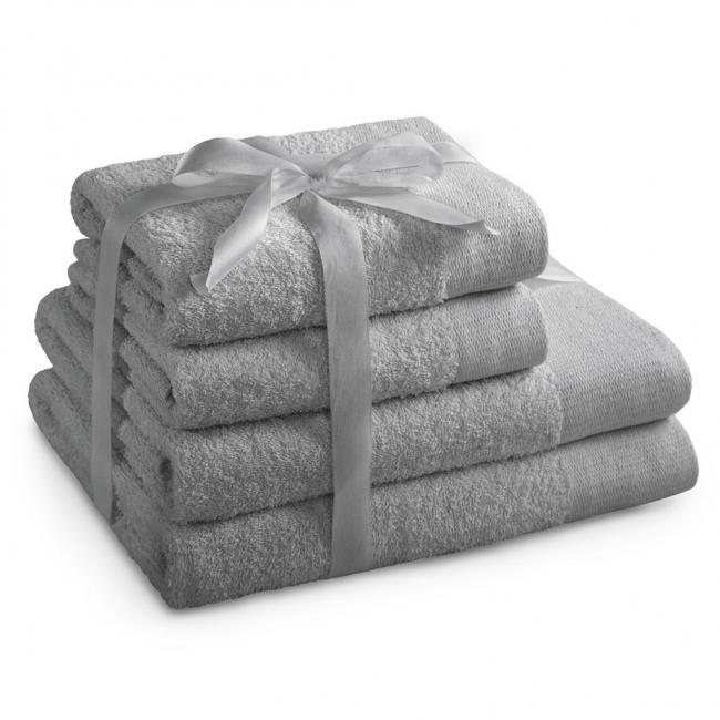 AmeliaHome - ręcznik 100% bawełny - zestaw 4 sztuk -  srebrny
