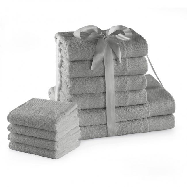 AmeliaHome - ręcznik 100% bawełny - zestaw 10 sztuk -  srebrny