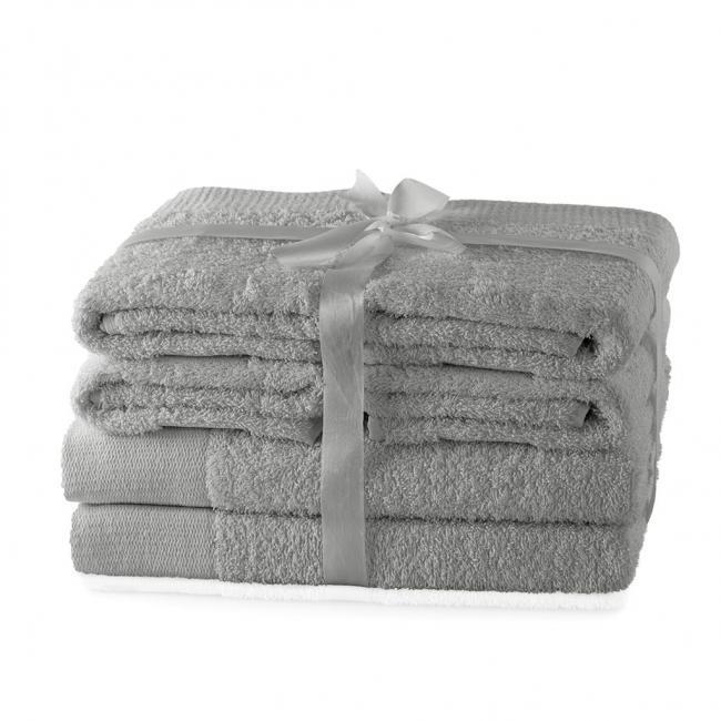 AmeliaHome - ręcznik 100% bawełny - zestaw 6 sztuk -  srebrny