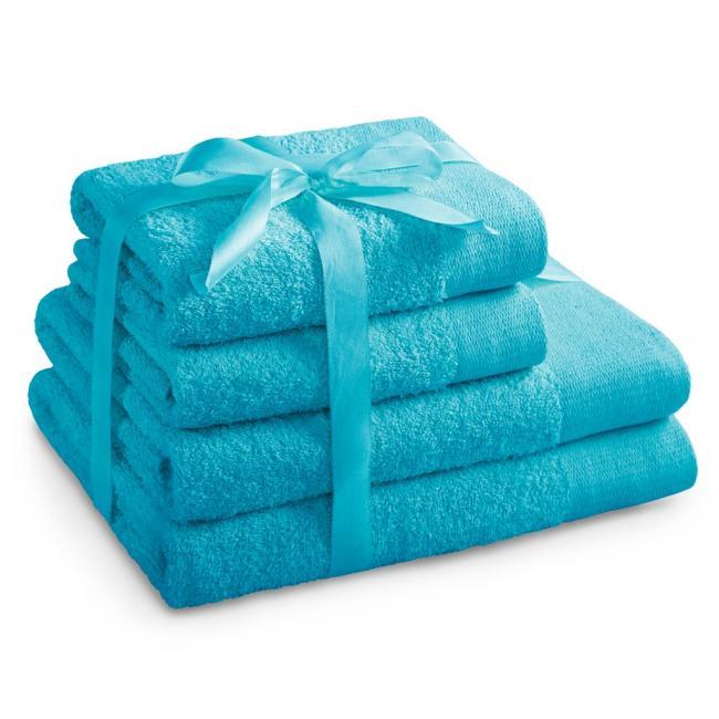 AmeliaHome - ręcznik 100% bawełny - zestaw 4 sztuk -  turkusowy