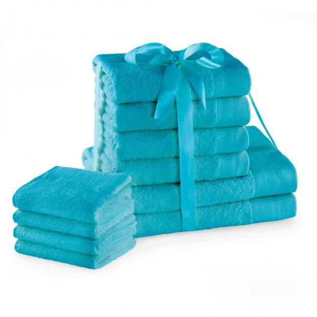 AmeliaHome - ręcznik 100% bawełny - zestaw 10 sztuk -  turkusowy