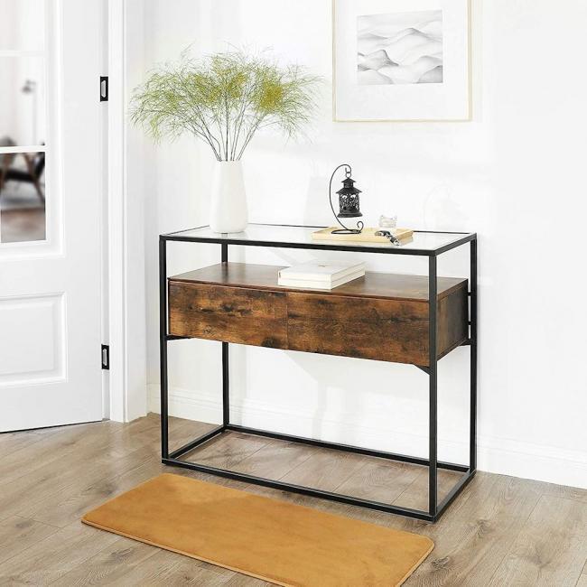 Szklany stolik kawowy z 2 podblatowymi szufladami - LOFT