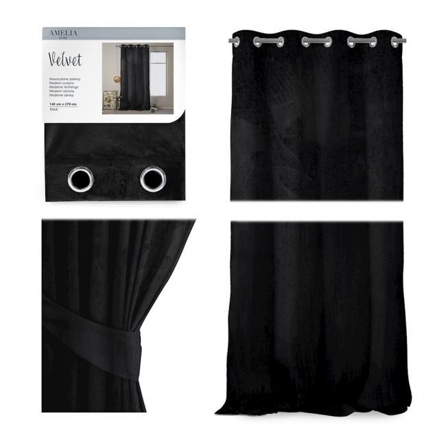 AmeliaHome  - Zasłona Blackout na przelotkach - 140x270 cm - czarna