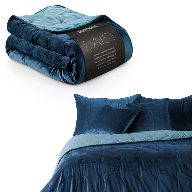 DecoKing - Narzuta dwustronna pikowana - ciemnoniebiesko - błękitna - różne rozmiary