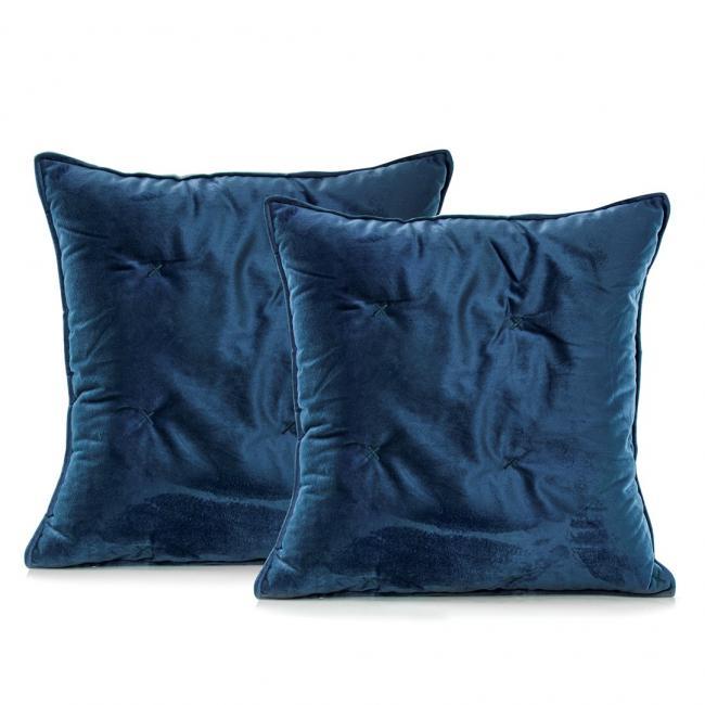 DecoKing - Poszewka pikowana - ciemnoniebieski + błękit - 45x45 cm - 2 sztuki