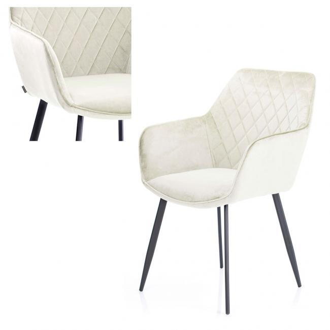 Krzesło welwetowe - kremowe