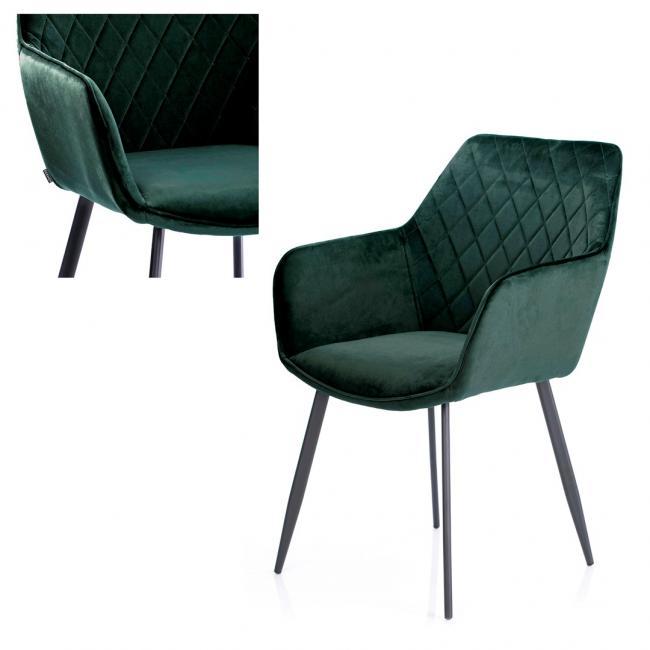 Krzesło welwetowe - butelkowa zieleń