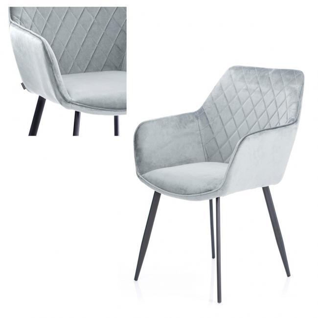 Krzesło welwetowe - srebrne