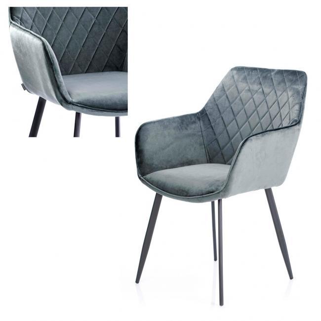 Krzesło welwetowe  - stalowe