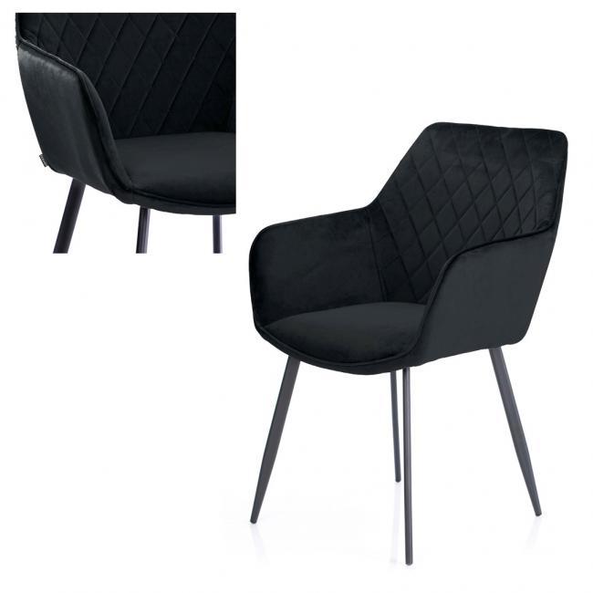 Krzesło welwetowe - czarne