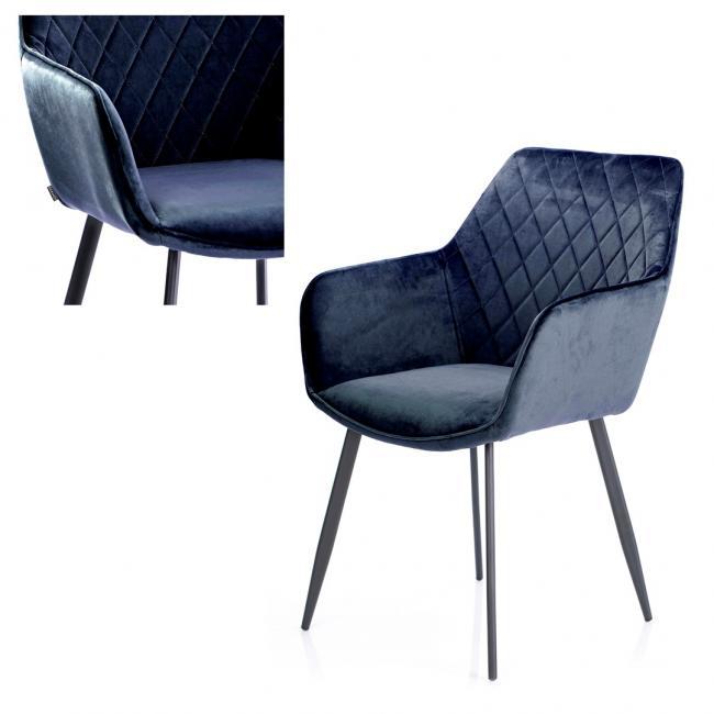 Krzesło welwetowe - granatowe
