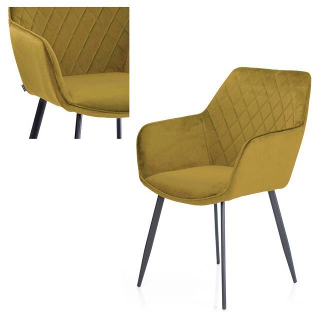 Krzesło welwetowe - musztardowy