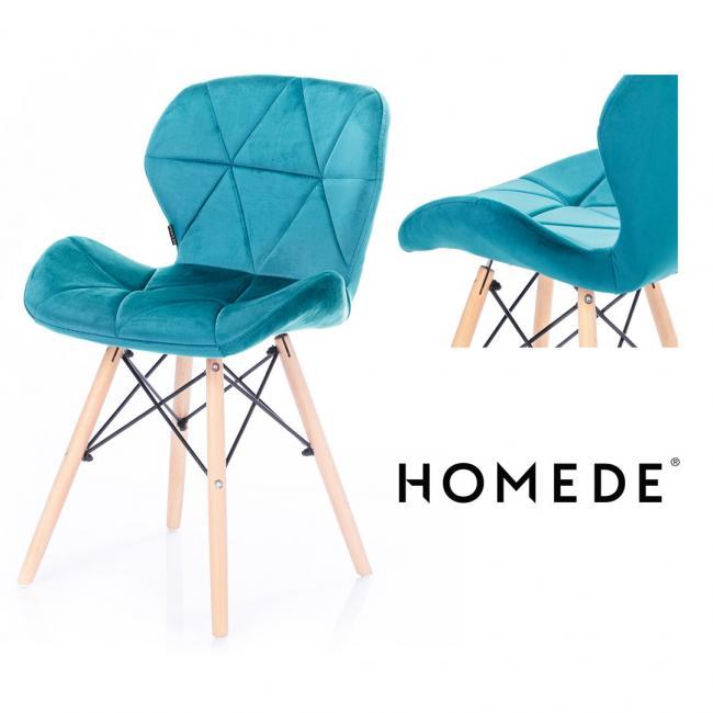 Krzesło welwetowe - niebieskie