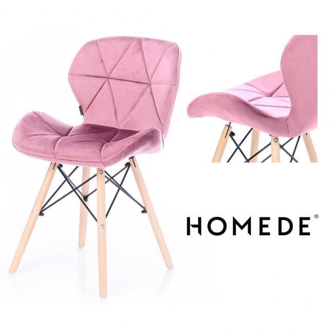 Krzesło welwetowe - fiołkowy róż