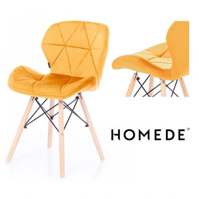 Krzesło welwetowe - żółte