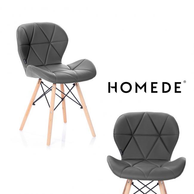 Krzesło -  imitacja skóry - grafitowe