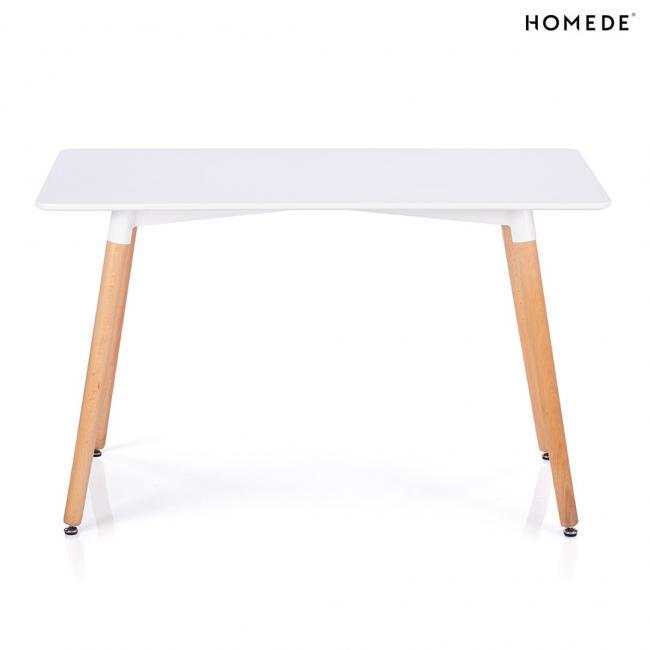 Stół z białym blatem 120x60 cm - skośne nogi