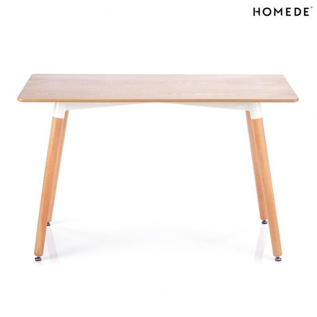 Stół z naturalnym blatem 120x60 cm - skośne nogi