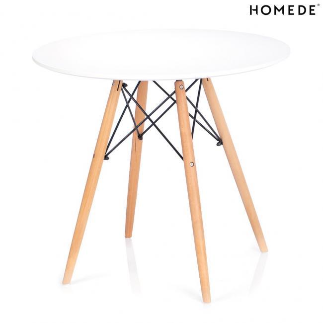 Stół z białym okrągłym białym blatem fi 85 cm - skośne nogi