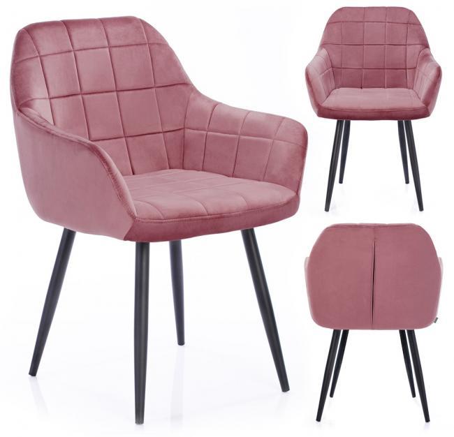 Krzesło welwetowe STILLO różowe
