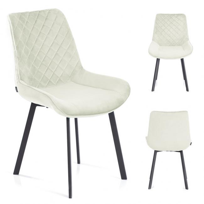 Krzesło welwetowe Kemble kremowe