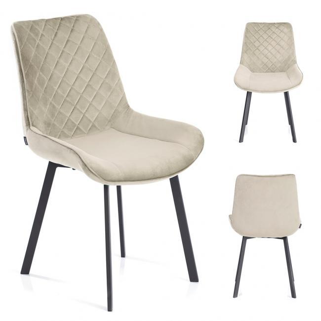 Krzesło welwetowe Kemble beżowe
