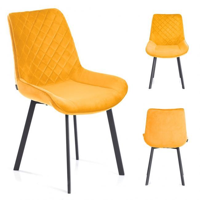 Krzesło welwetowe Kemble musztardowe