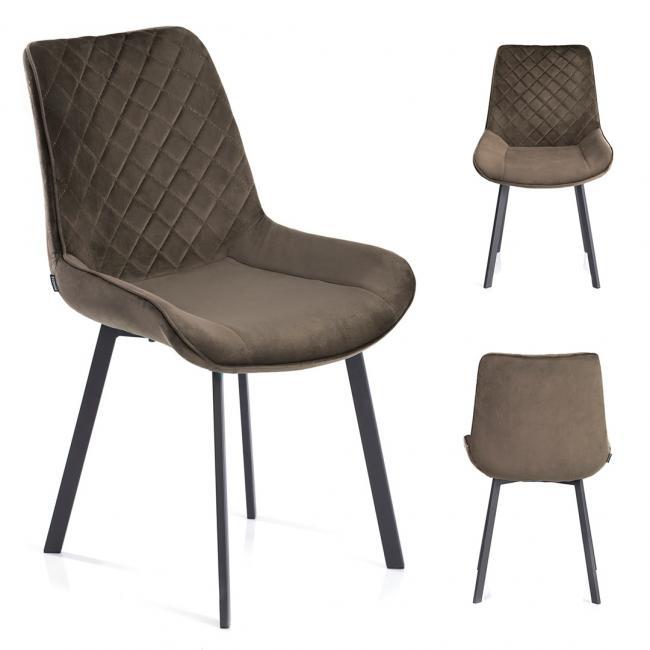 Krzesło welwetowe Kemble brązowe