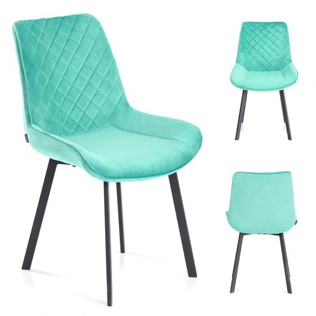 Krzesło welwetowe Kemble błękitne