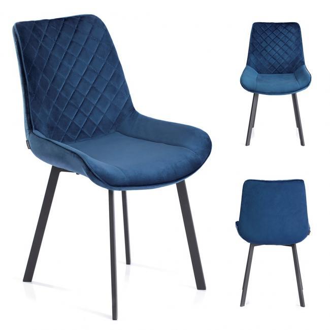Krzesło welwetowe Kemble granatowe