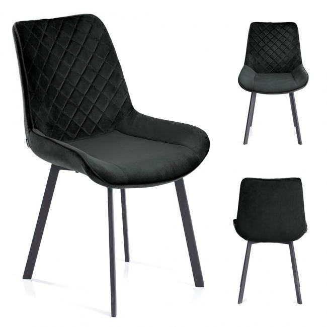 Krzesło welwetowe Kemble czarne