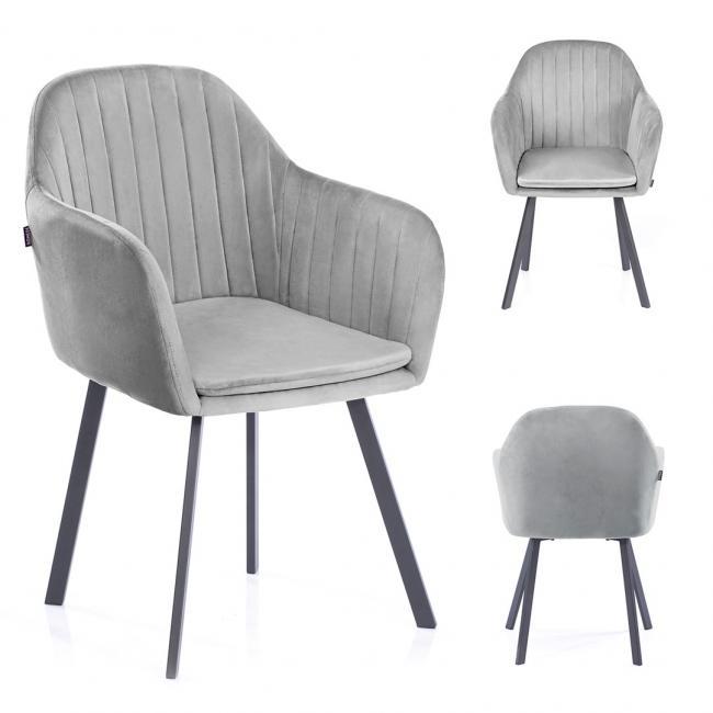 Krzesło welwetowe Trento srebrne