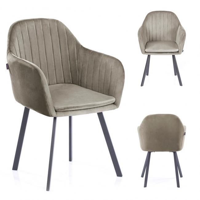 Krzesło welwetowe Trento beżowe