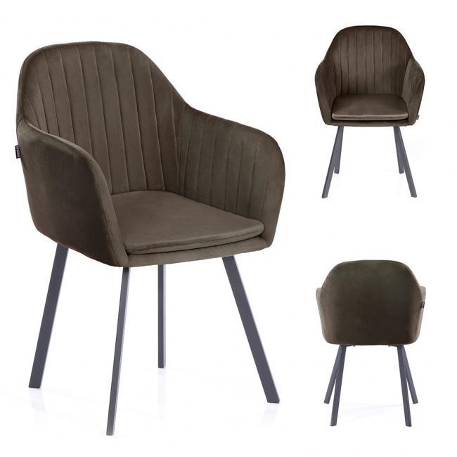 Krzesło welwetowe Trento brązowe