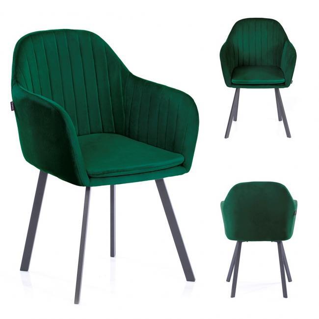 Krzesło welwetowe Trento butelkowa zieleń
