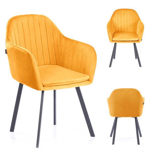 Krzesło TRENTO welwetowe musztardowe