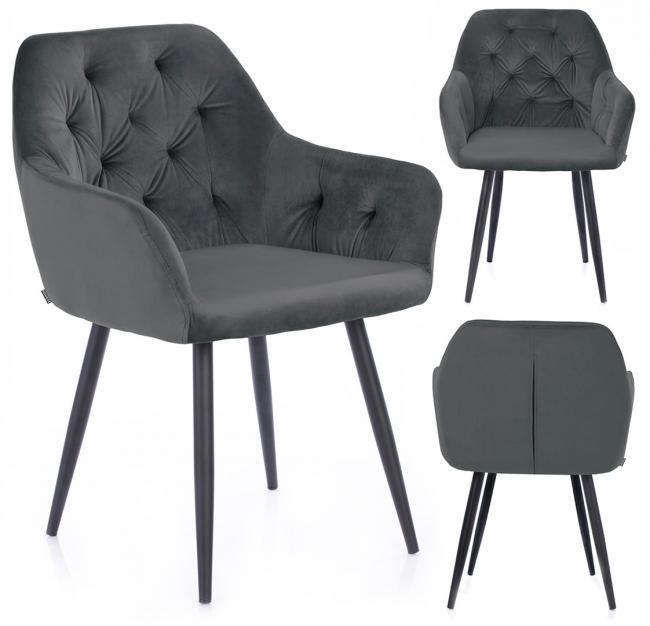Krzesło ARGENTO welwetowe stalowe
