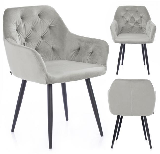 Krzesło ARGENTO welwetowe srebrne