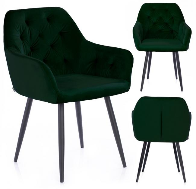 Krzesło ARGENTO welwetowe ciemnozielone
