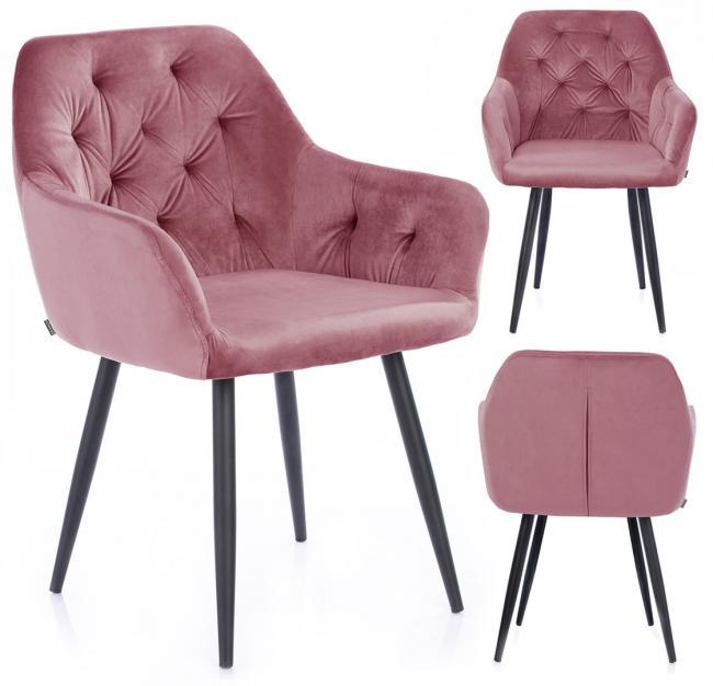 Krzesło ARGENTO welwetowe różowe