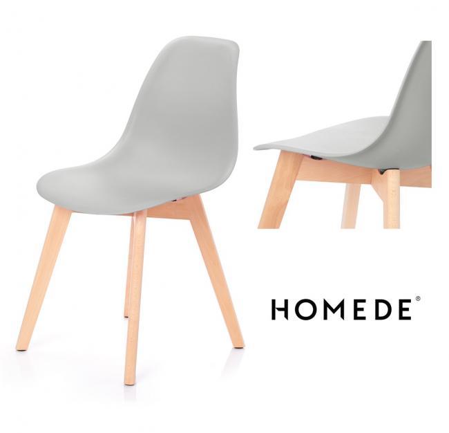 Krzesło MIRANO z tworzywa - jasnoszare