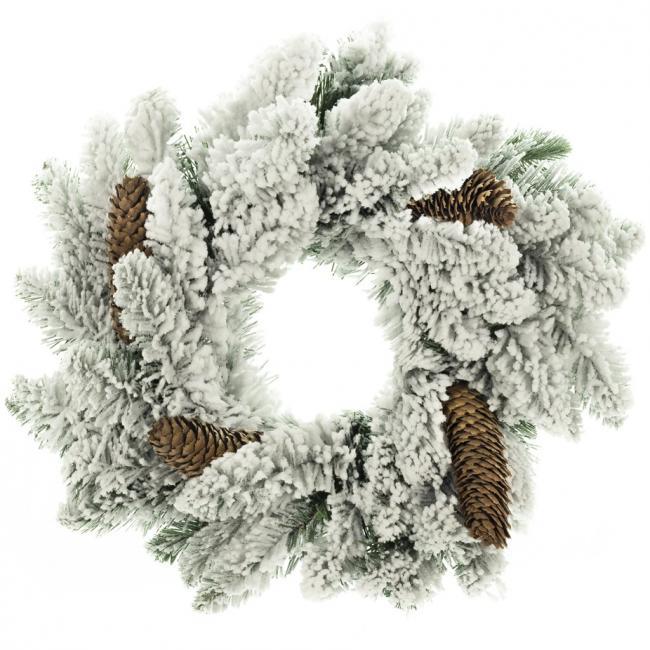 DecoKing - Wieniec bożonarodzeniowy - zielono biały -  sztuczny świerk 50 cm
