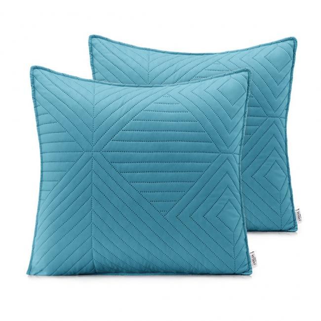 AmeliaHome - Poduszki pikowane - jasnoniebieski, srebrny - 45x45 cm - 2 sztuki