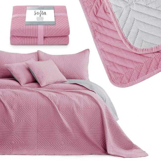 AmeliaHome - narzuta pikowana - różowo-srebrna - różne rozmiary
