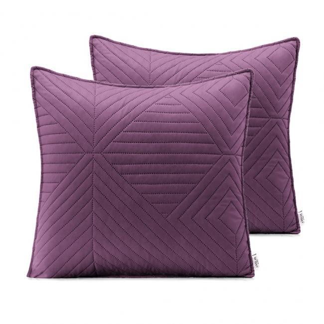 AmeliaHome - Poduszki pikowane - ciemnofioletowy, fiołkowy - 45x45 cm - 2 sztuki