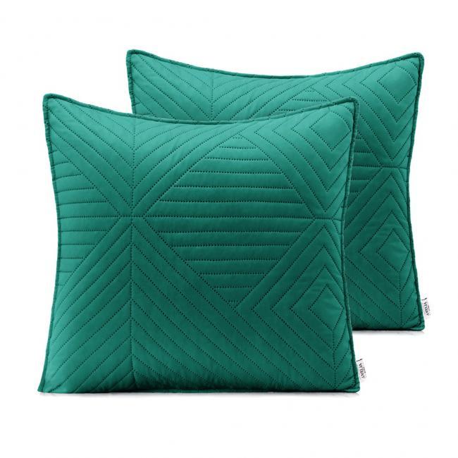 AmeliaHome - Poduszki pikowane - ciemnozielony, jasnozielony - 45x45 cm - 2 sztuki