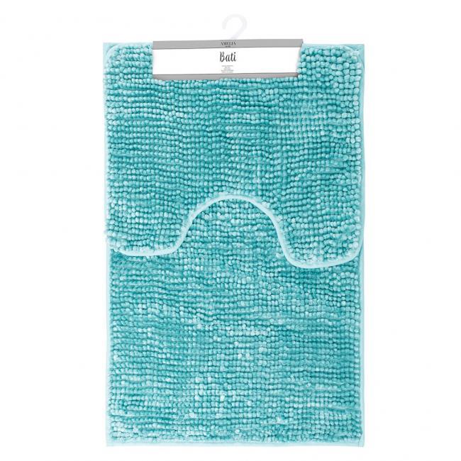 AmeliaHome - komplet dywaników łazienkowych - niebieskie - 2 sztuki