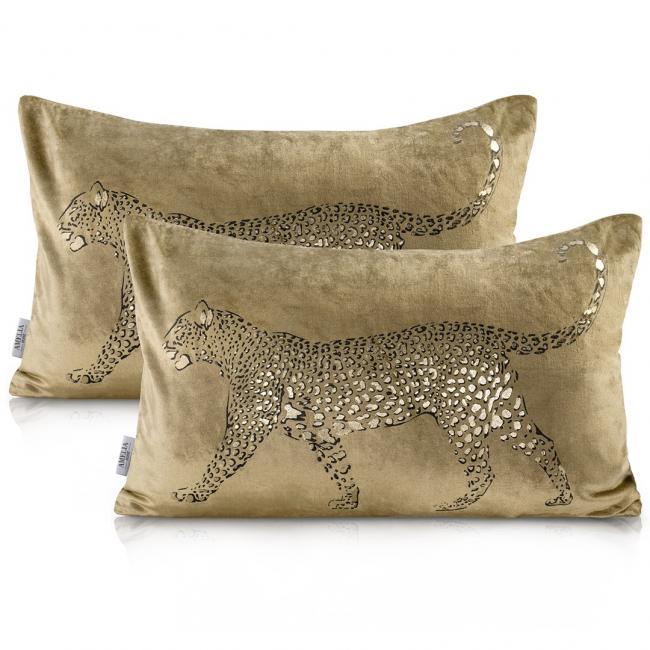 AmeliaHome - Poszewka dekoracyjna - złota + leopard - 2 sztuki - 30 x 50 cm
