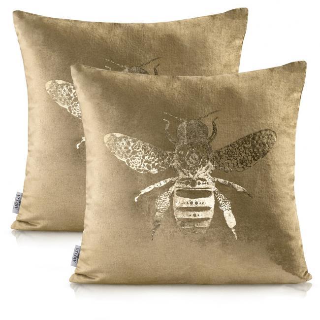 AmeliaHome - Poszewka dekoracyjna - złota + pszczoła - 2 sztuki - 45 x45 cm
